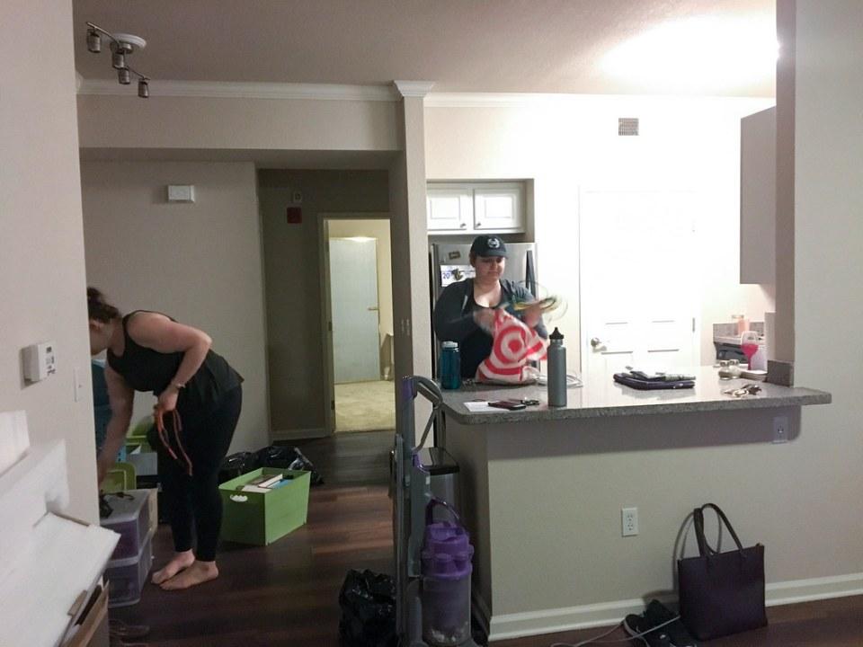 Dani and Danielle unpacking