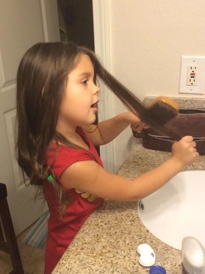 doing her hair