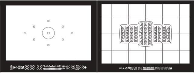 waarom zijn er zoveel scherpstelpunten - dit zijn de schermen van een EOS 450D en een 5D mark III