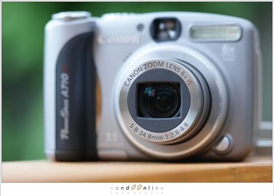De brandpunten van een compactcamera liggen vaak rond de 5mm tot 35mm, net als deze Powershot A710IS