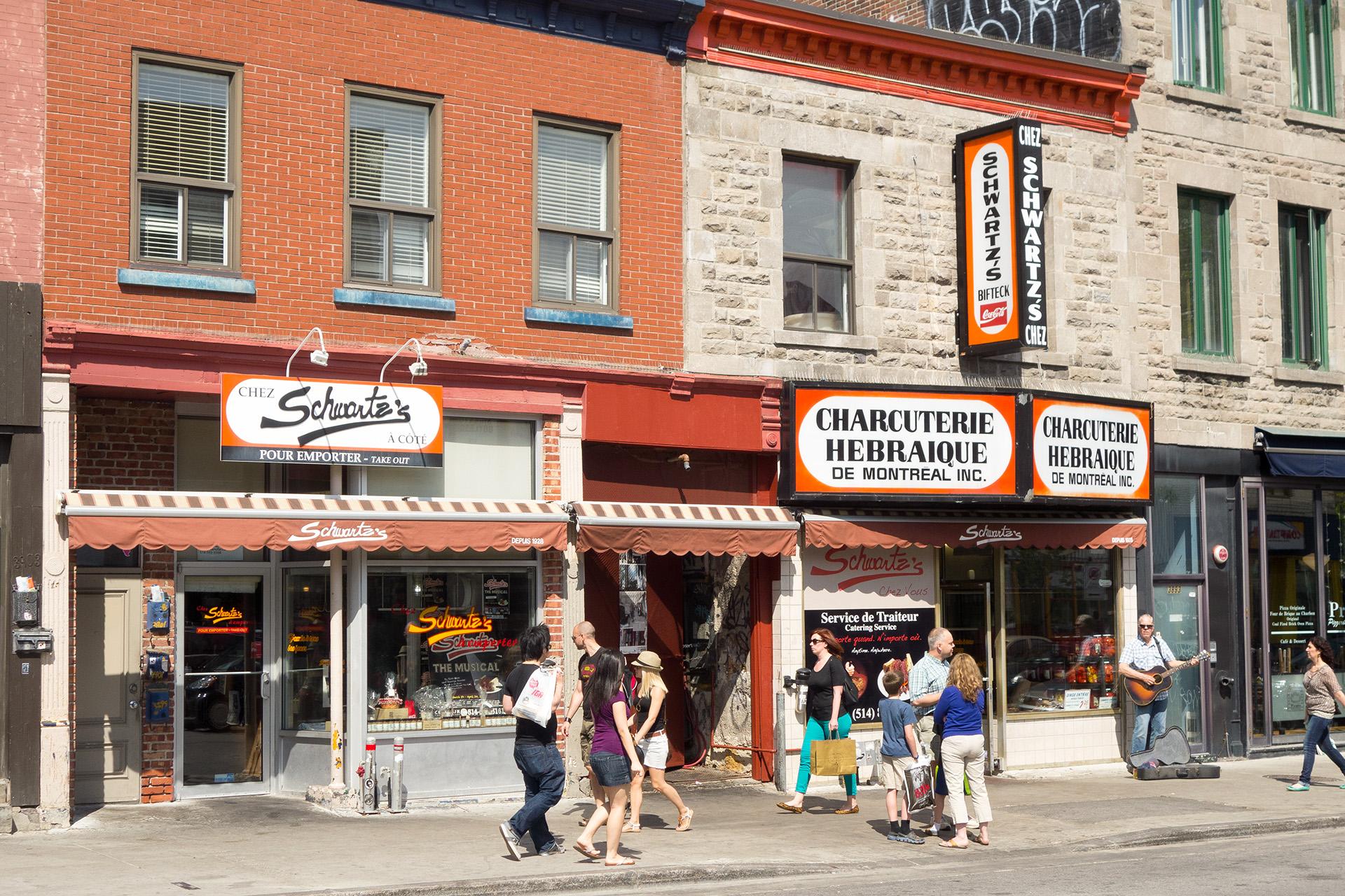 Schwartz's Deli storefront.