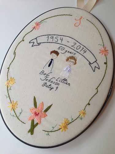 Custom 60th wedding anniversary embroidery