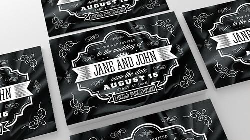 Vintage Wedding Invitation, PSD Template
