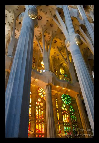 Sagrada Familia interior, yellow stained glass