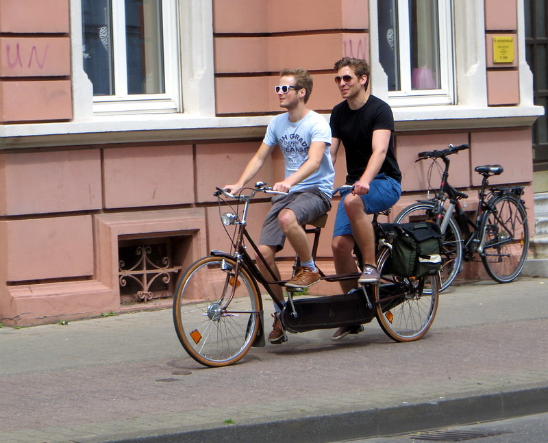 Tandem-boys on a bike