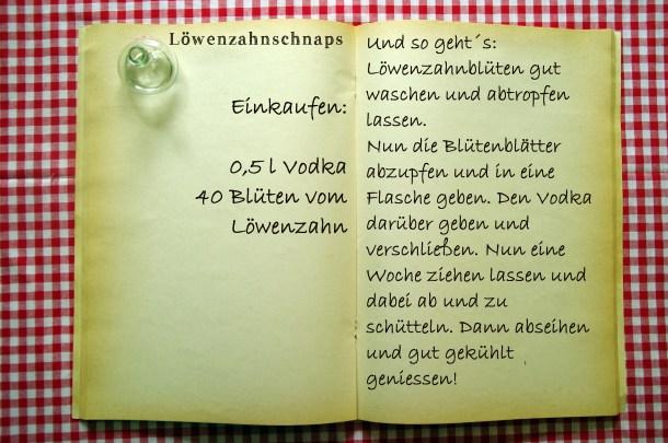 Einkaufszettel Löwenzahnblütenschnaps by Glasgefluester