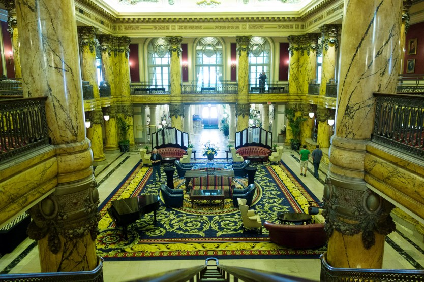 Staircase leading to the grand lobby of the Jefferson Hotel.