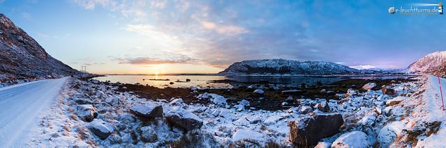 Rising sun above the Vestfjord