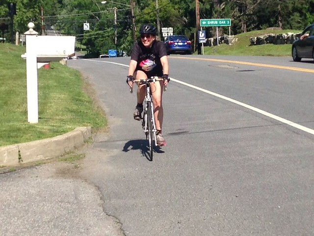 Sarah charging up a hill on US-202 between Yorktown and Peekskill #bicycling