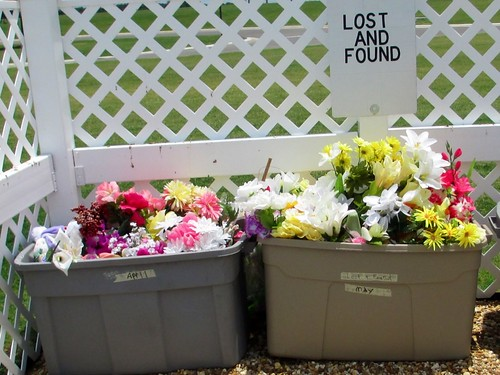 Lost and Found Bins; Memorial Day at the Sarasota National Cemetery, Florida, May 26, 2014