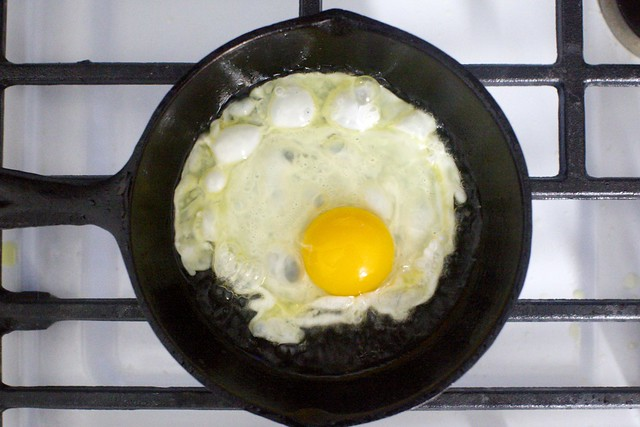 crispy egg, dropped into piping hot skillet