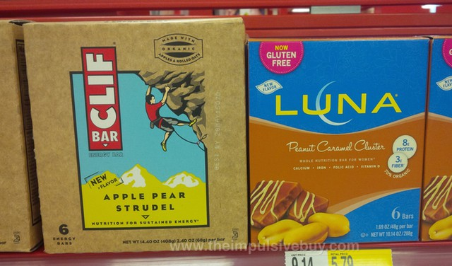 Clif Bar Apple Pear Strudel and Luna Peanut Caramel Cluster Bar