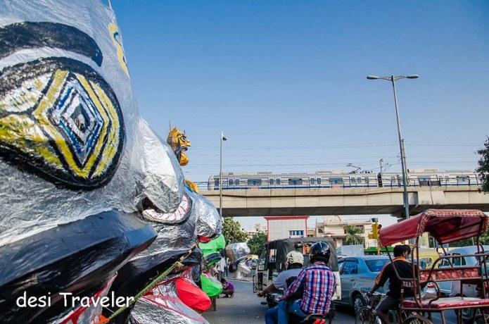 Ravana next to Delhi Metro blue line
