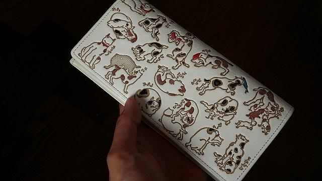 水金の文庫革の猫財布
