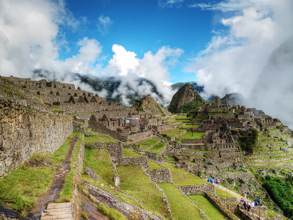 Looking over the cultivation terraces towards Machu Picchu.