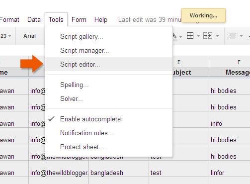 Choose script editor