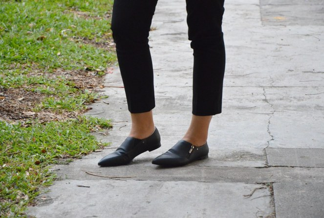 Charles & Keith Zip-Up Loafers, pointy toed black loafers
