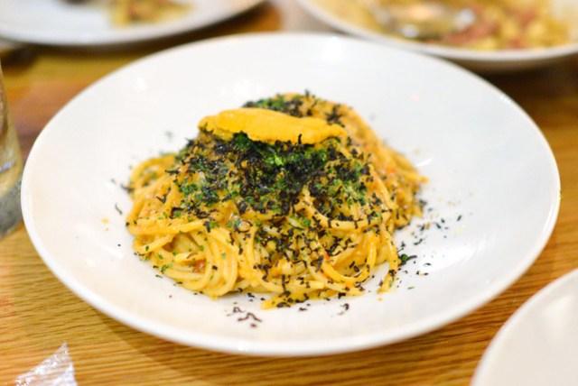 Spaghetti Rustichella. sea urchin. squid ink bottarga. garlic. calabrian chilies. breadcrumbs.