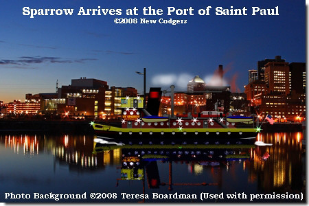Sparrow arrives at the Port of Saint Paul ©2008 New Codgers