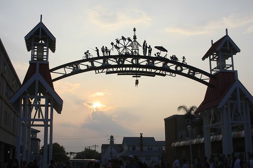 Sun setting behind the Boardwalk sign