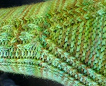 Twisted stitch cable and gusset detail