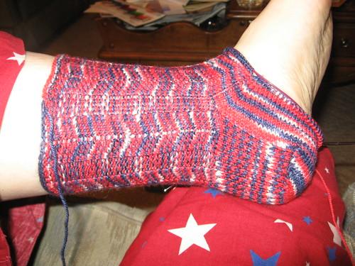 Sock on leg