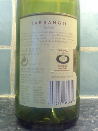 Brown Brothers Tarrango 2006 Back Label