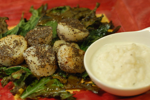 Poppy seed scallops, kale chips and smashed turnips