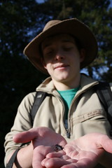 Jamie with a ground beetle