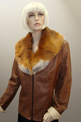 Leather Jacket with Fox Collar