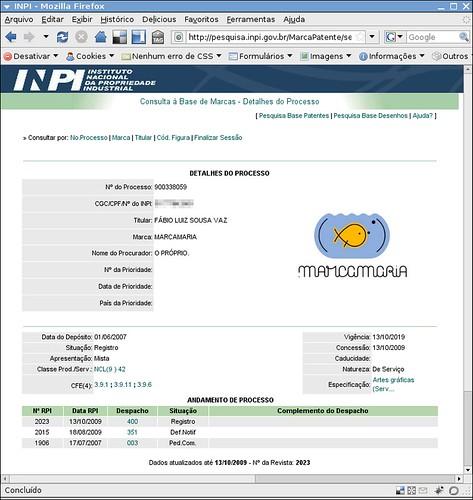 Print do andamento do processo de Registro de Marca do .marcamaria Junto ao INPI