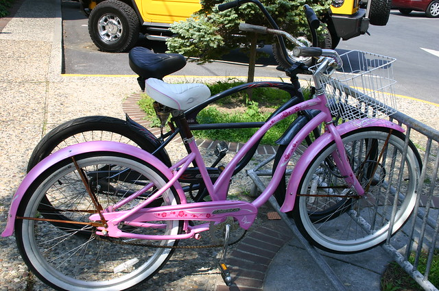 Hot pink and boyfriend bike