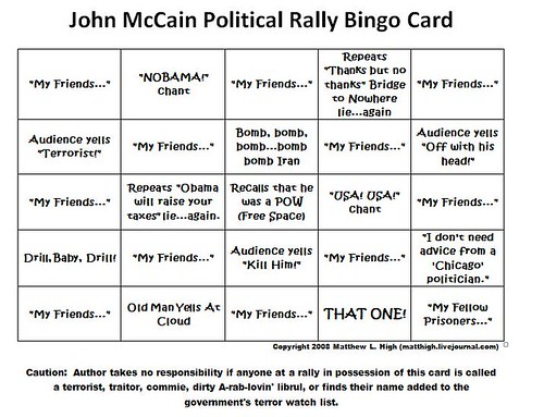 John McCain Political Rally Bingo Card by mlhradio.