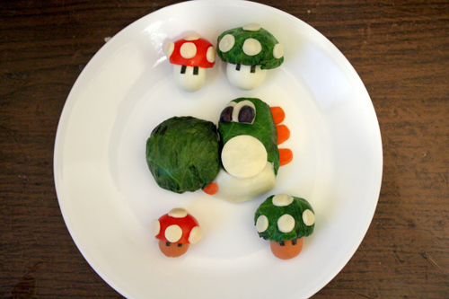 Yoshi and super Mario mushrooms