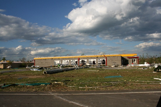 Automated car wash, ground perspective, Albertville, Alabama tornado damage -Flickr photograph by