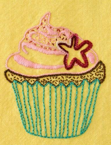Beetastic Cupcake embroidery