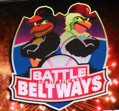 The Oriole Bird vs. the Nationals Screech in the mascot Battle of the Beltways