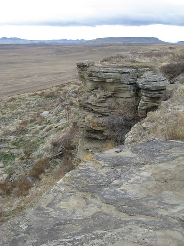 Square Butte in the Background of Buffalo Jump
