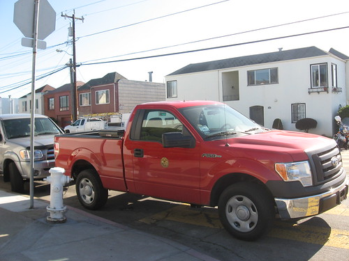 SFFD pickup blocking crosswalk, wheelchair ramp and hydrant