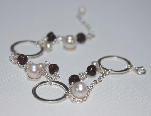 Garnet Pearl and Circle Bracelet.jpg