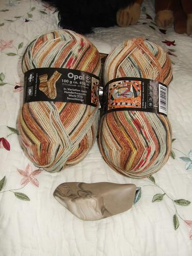 Opal sock yarn, plus oiled flint stone