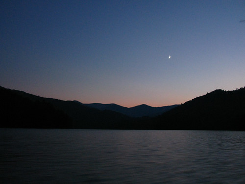 The Moon over Lake Santeetlah by you.