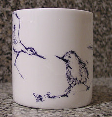 Birds on my new Tracey Emin mug I bought at the Royal Academy