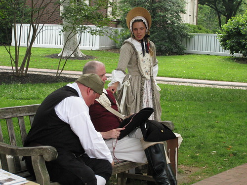 Animators in period costumes near Carpenter Hall