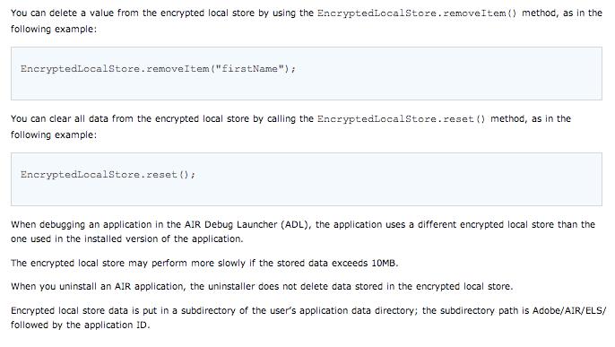 deleting Adobe Air encrypted files