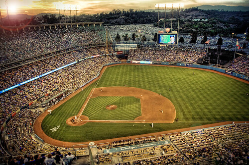 Dodger Stadium at sunset by elbelbelb2000.