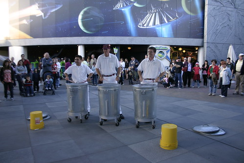 Watched some janitors playing garbage cans as drums