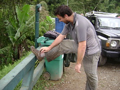 Pierre stops to look for leeches under his socks.