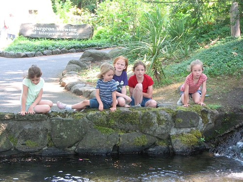 Dorothy, Emma, Laura, Elizabeth, and Emily at Fish Hatchery