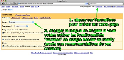 Google Reader: changer la langue